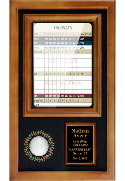 "Memorable Moments Ball & 6""x8"" Scorecard Display - Wood - My Golf Memories"