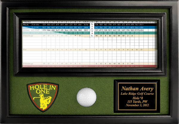 "Hole-in-One-Ball-&-4""x12""-Scorecard-Display-Black-My-Golf-Memories-Close-Up"
