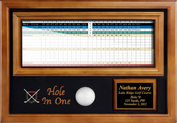 "Hole-in-One Ball & 4""x12"" Scorecard Display - Wood - My Golf Memories"