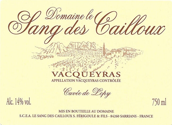 Domaine Sang Cuvee Lopy 2014 MAGNUM