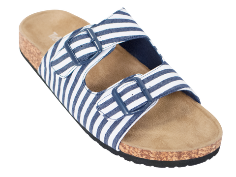 Navy & White Striped Sandal - trendva