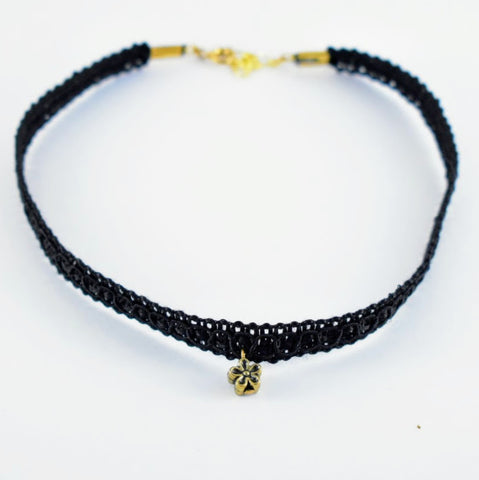 Black ribbon choker