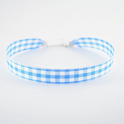 Blue gingham choker