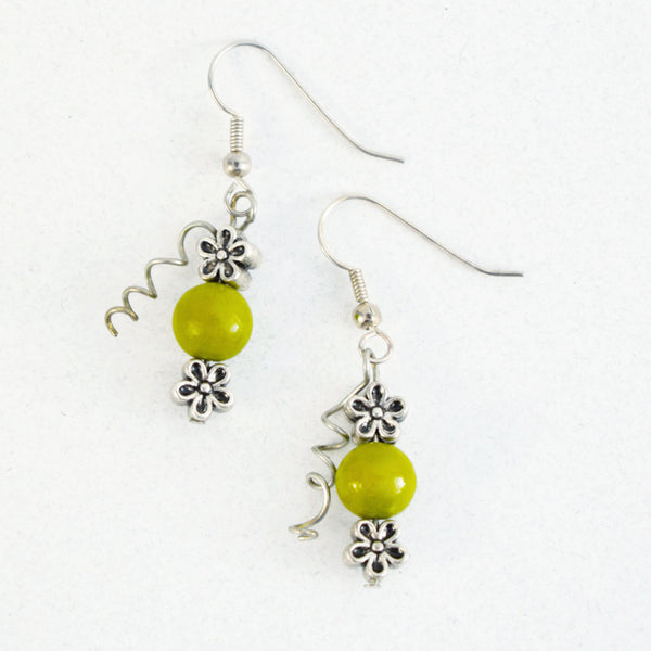 green pea earrings