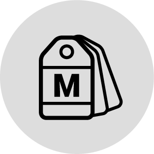 clothing tags with medium size