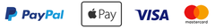 Shop with Paypal, Apple Pay, Visa and Mastercard