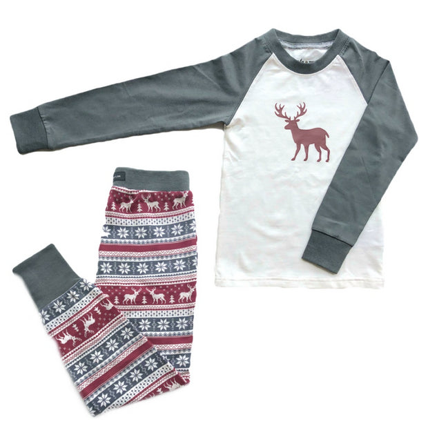 Lola & Taylor Fair Isle Fawn Kids PJ Set 2020
