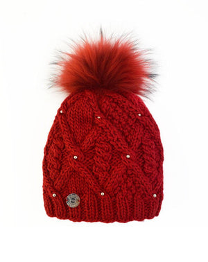 Pleau Womens Hat with Pearls and Removeable Pom