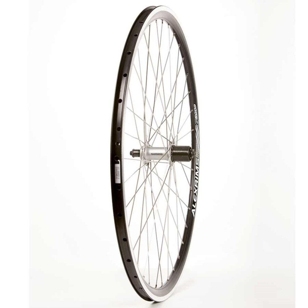 Wheel Shop, Rear 700C Wheel, 36H Black Alloy Double Wall Alex G6000/ Black Shimano FH-H475 8-10spd QR 6 Bolt Disc Hub, DT Stainless Spokes
