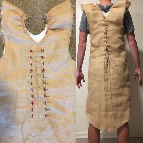 Buttons on the burlap shirt dress