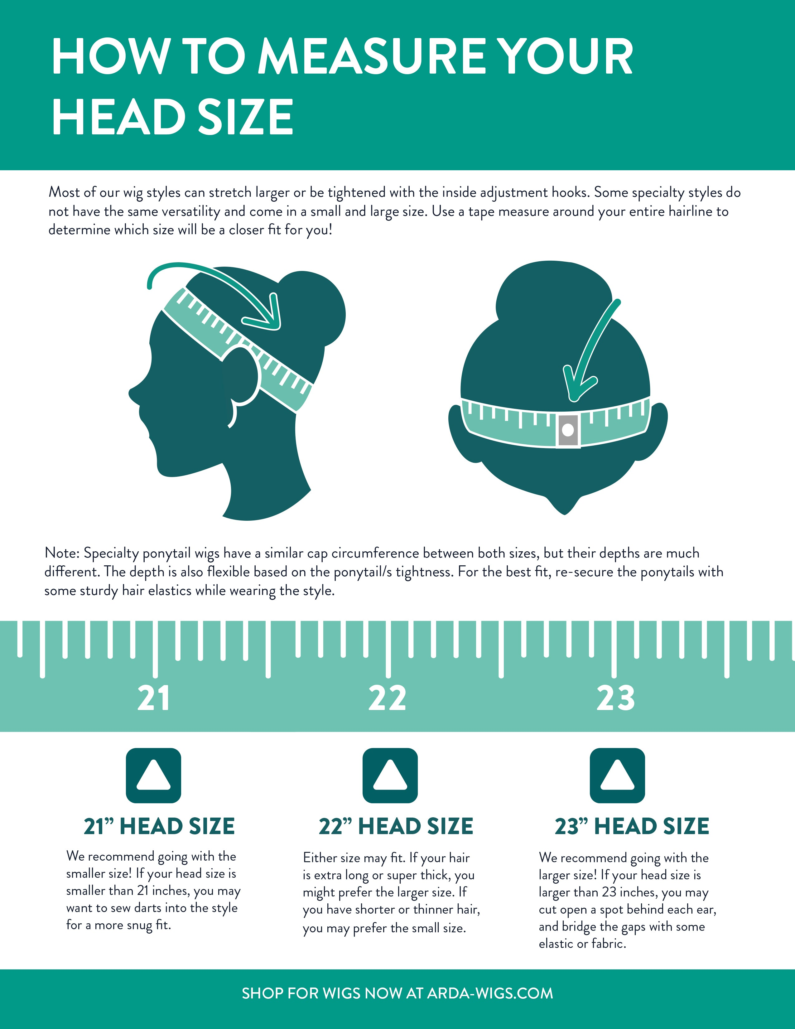 00f8c686e ... and use the wig's elastic to bridge the gaps together to give you up to  an extra inch on each side. Below is a handy head measuring guide for our  wigs!