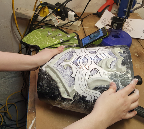 Sculpting the pattern on to a mold