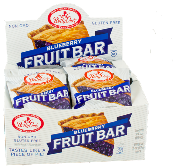 Betty Lou's Blueberry Fruit Bar x 12