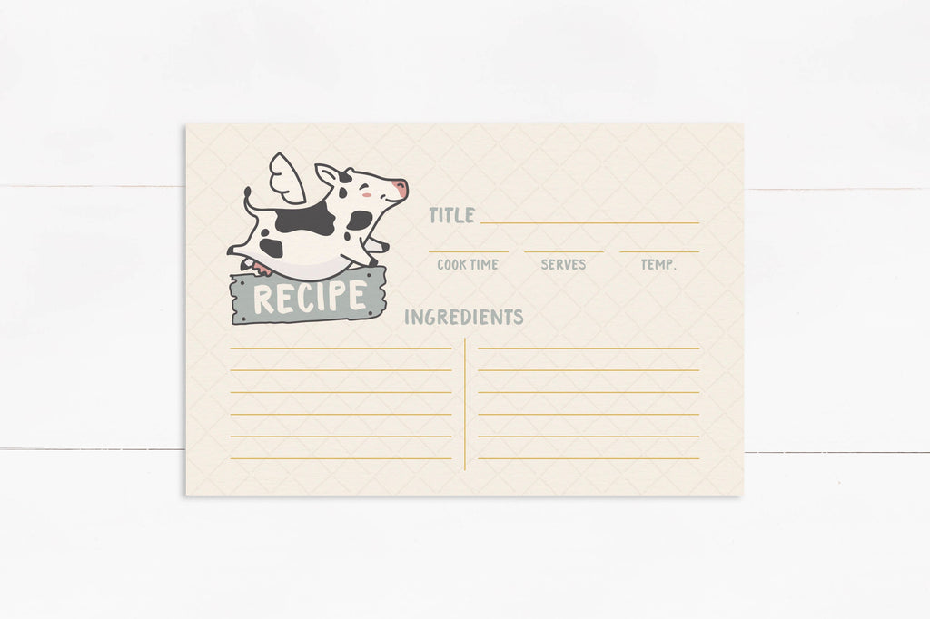 cow farmhouse life 4x6 recipe cards, cute farm recipe card set, housewarming or christmas cooking gift for chef, stocking stuffer