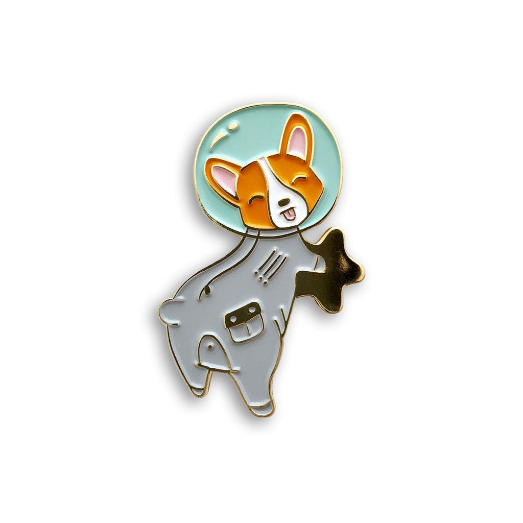 astronaut space corgi enamel pin jewelry, cute backpack lapel pin badge, christmas stocking stuffer dog lover gift, corgi butt