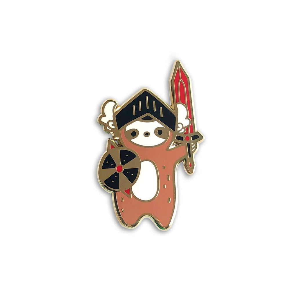sloth enamel pin, warrior sloth lapel pin jewelry, dnd valentine's day gift, nerd d20 tabletop gamer dungeons and dragons, gifts for geeks