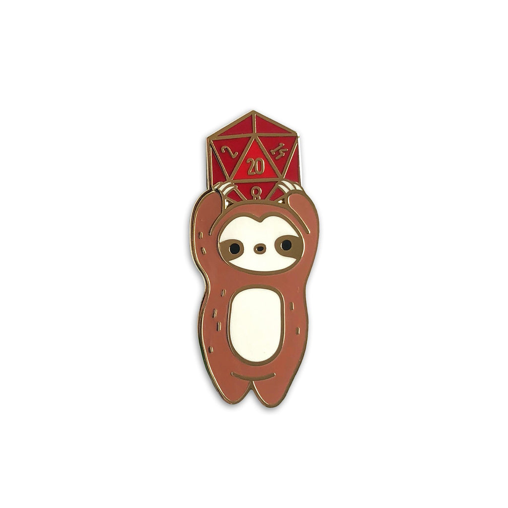 D20 sloth enamel pin, dnd valentine's day gift, dungeons and dragons lapel pin jewelry, tabletop gamer, gifts for geeks or nerds