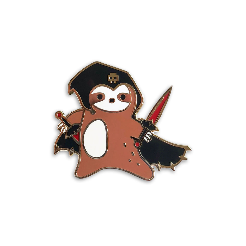 sloth enamel pin, dnd valentine's day gift, rogue sloth lapel pin jewelry, nerd merch, D20 gamer dungeons and dragons, gifts for geeks