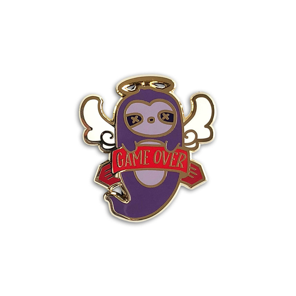 game over sloth enamel pin, dnd valentine's day gift, sloth lapel pin jewelry, nerd merch, D20 gamer dungeons and dragons, video game