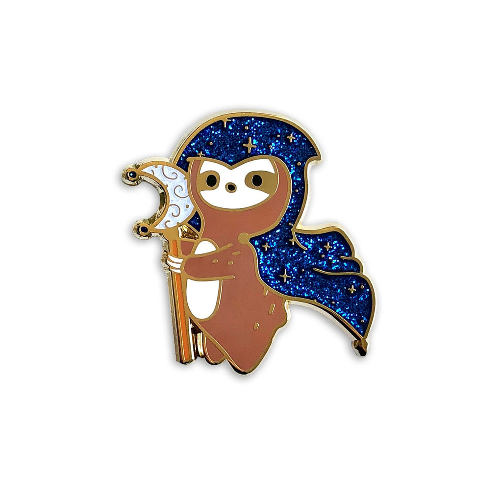 sloth enamel pin, dnd valentine's day gift, mage sloth lapel pin jewelry, nerd gifts d20, tabletop gamer dungeons and dragons