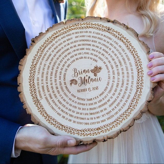 Personalized His and Hers Wedding Vow, Custom 5th Anniversary Wood Vow Art, Bridal Gift for Groom or Bride, Wedding Keepsake