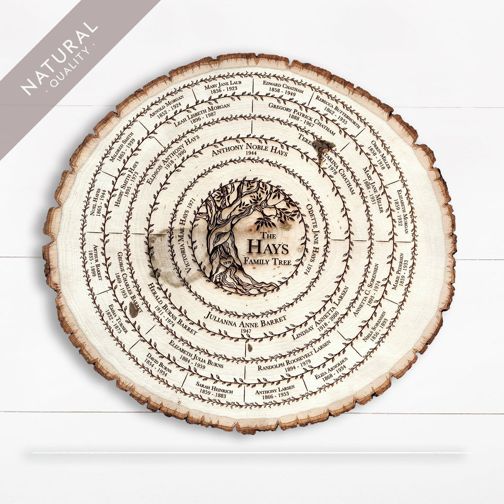 Wood Family Tree Chart, Personalized Mother's Day Gift for Her, Custom Genealogy Wedding 5th Anniversary Keepsake, Family Reunion