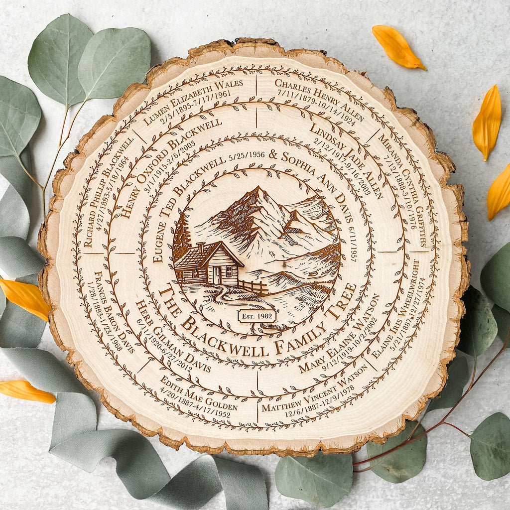 Family Tree Art, Personalized Mother's Day Gift, Custom Genealogy Wood Slice Chart, 5th Anniversary Ancestry Keepsake, Mountain Lodge Cabin