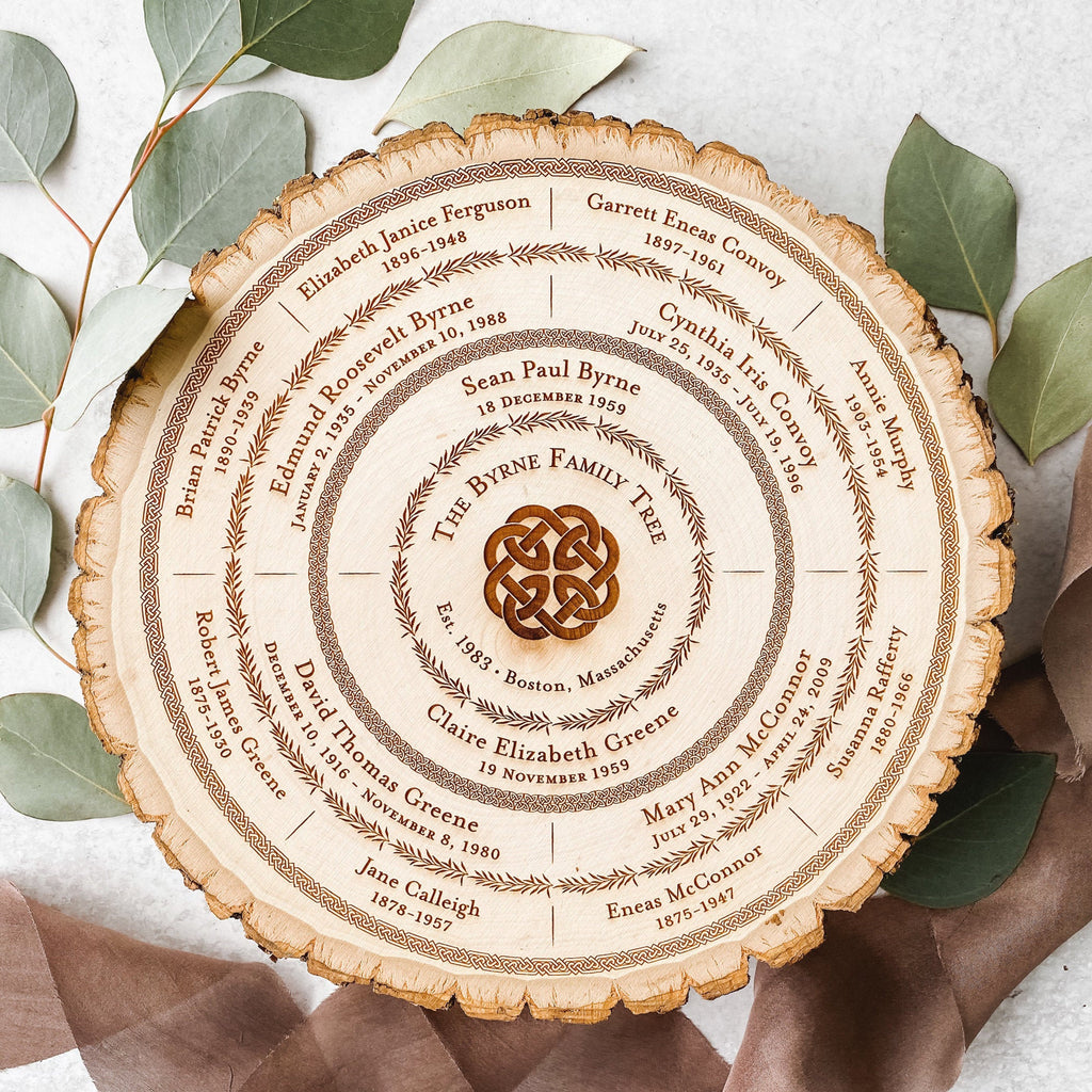 Wood Family Tree Chart, Personalized Mother's Day Gift, Celtic Love Knot, Custom Genealogy 5th Anniversary Wedding Keepsake, Tree of Life