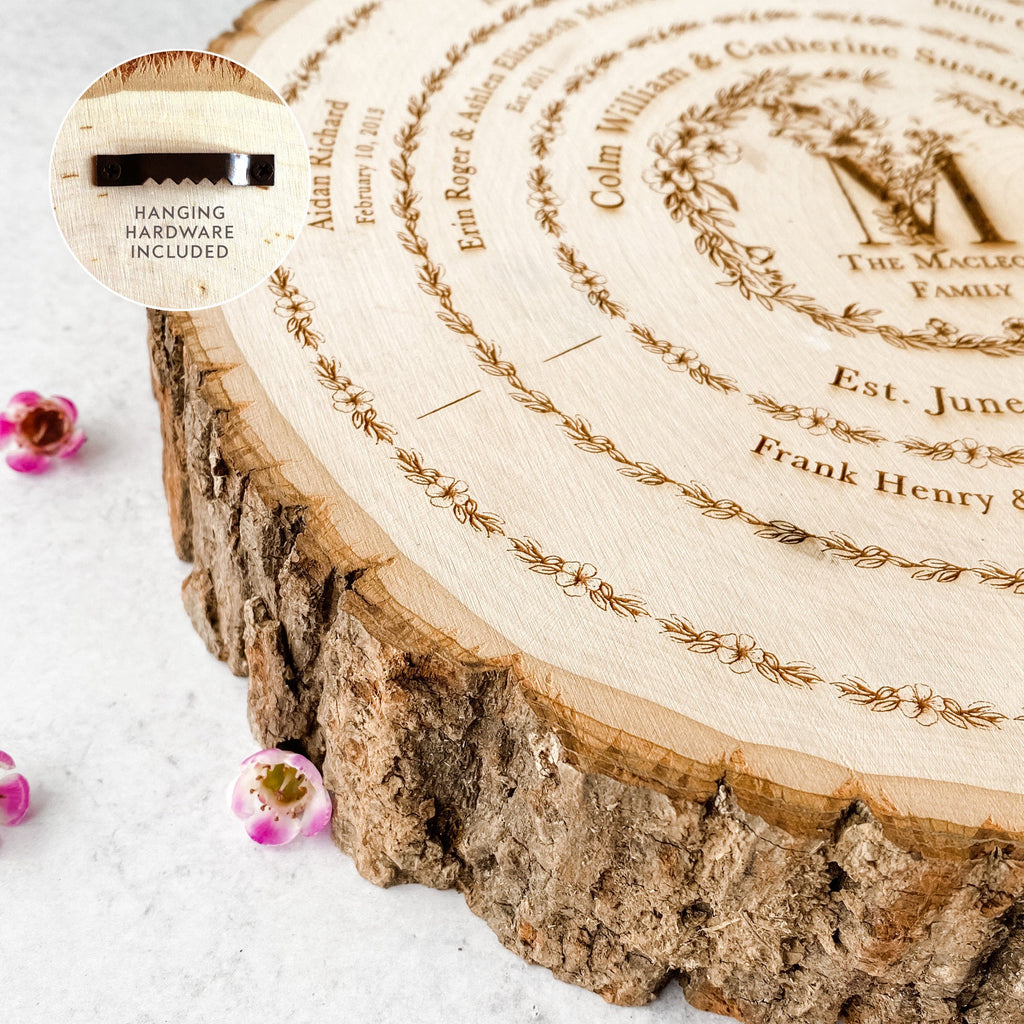 Wood Slice Family Tree Chart Genealogy, Personalized Mother's Day Gift for Her, Custom Wedding 5th Anniversary Ancestry Keepsake