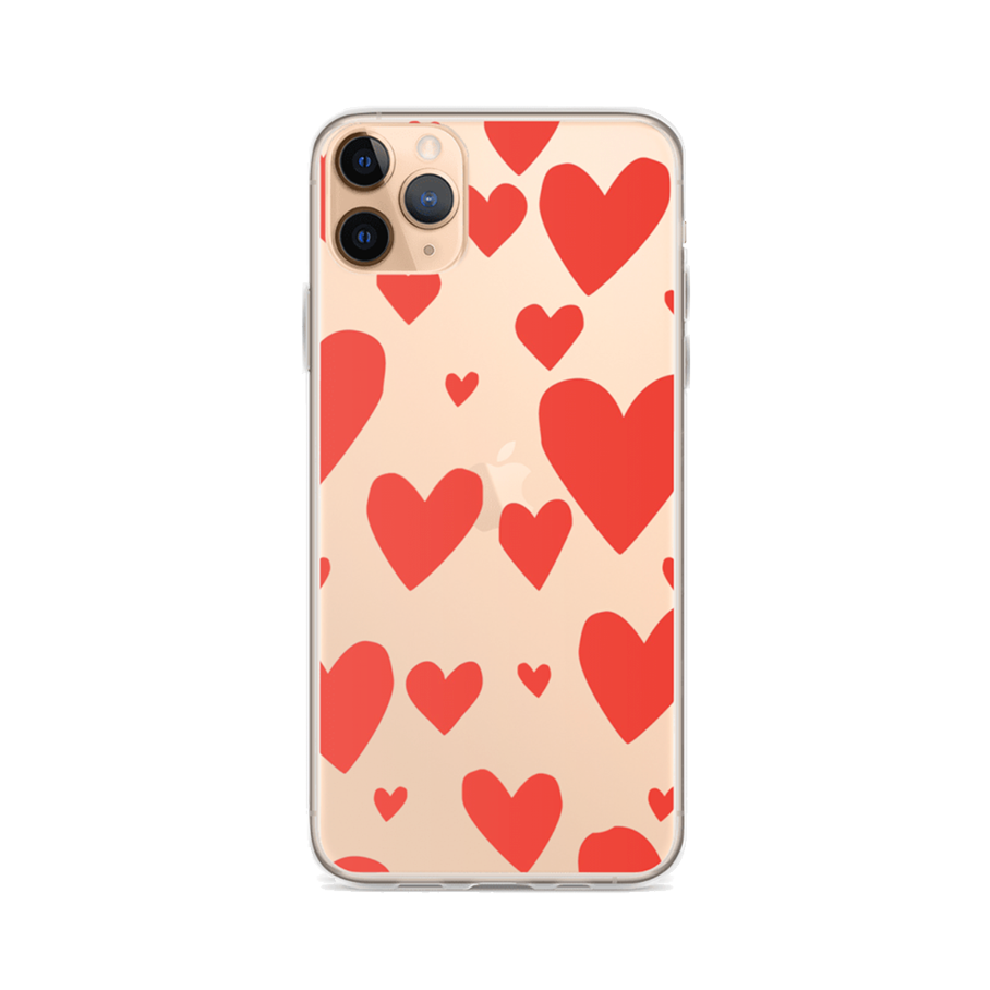 RED HEARTS Clear iPhone Case
