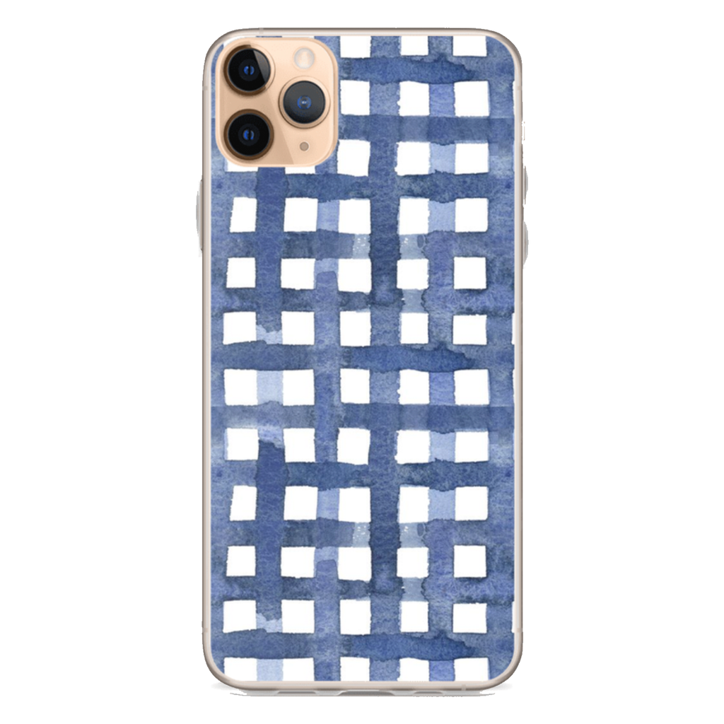 BLUE WATERCOLOR GINGHAM iPhone Case