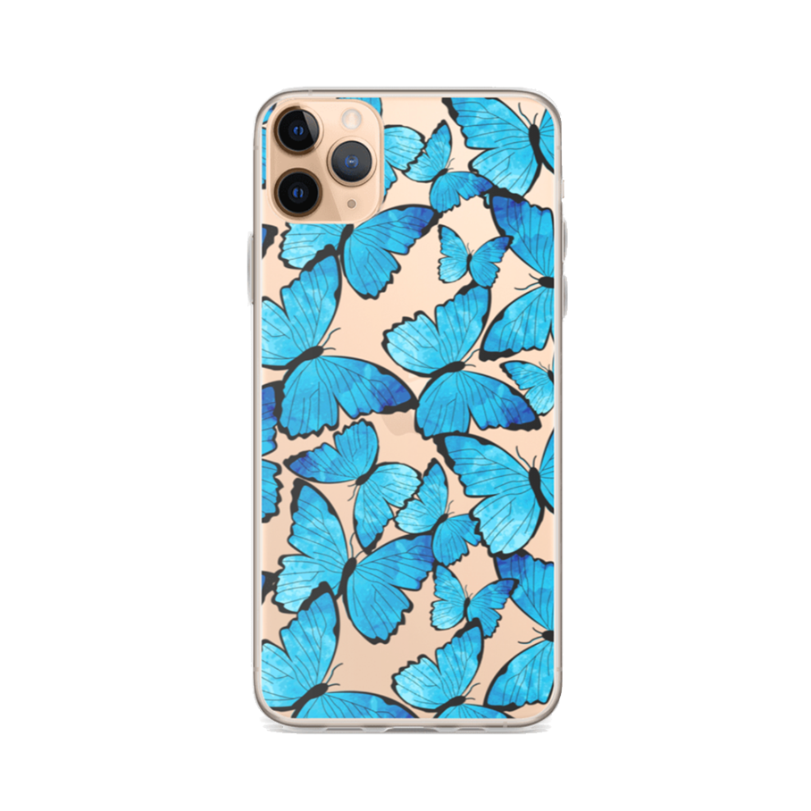 BLUE MONARCH Clear iPhone Case
