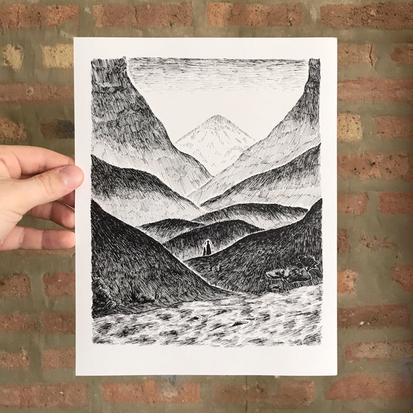 Approaching The Mountains - Art Print
