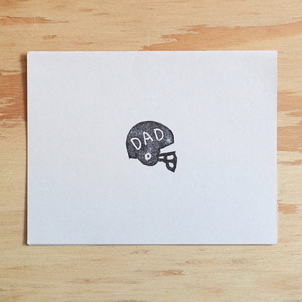 Dad - Football Helmet Linocut Father's Day Card - Quill and Crown