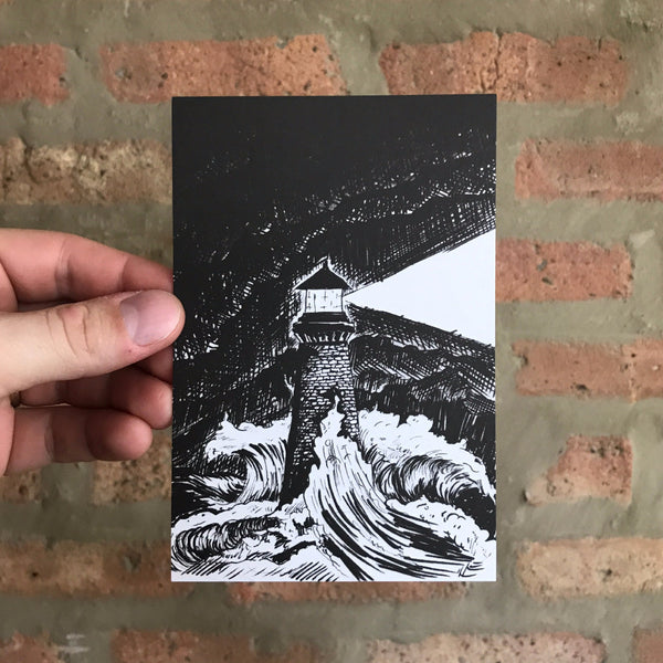 That Looks on Tempests - Lighthouse in Storm Art Print - Quill and Crown