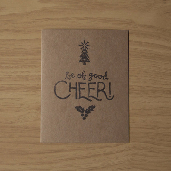 Good Cheer w/ Tree & Holly - Holiday Card - Quill and Crown