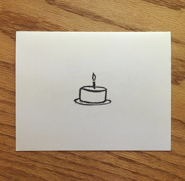 Birthday Cake - Minimalist Linocut Birthday Card - Quill and Crown
