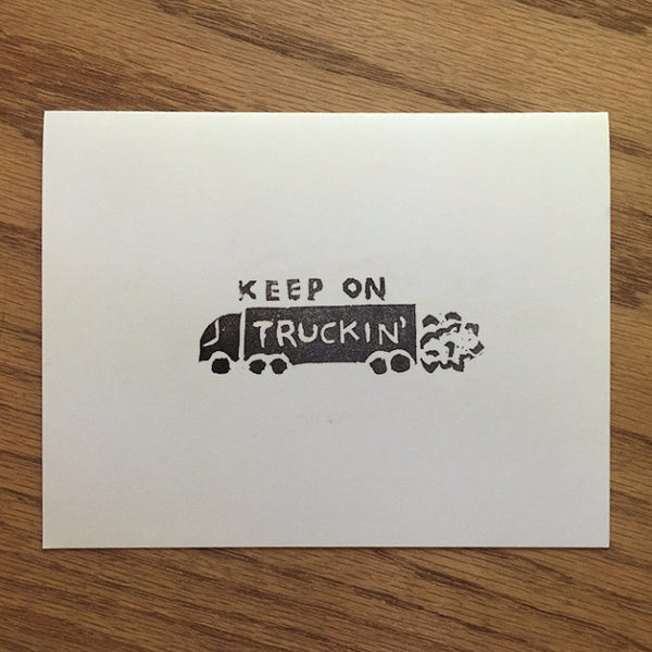 Keep On Truckin' - Linocut Greeting Card - Quill and Crown