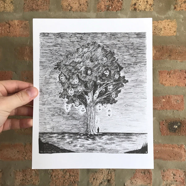 The Lantern Tree - 8x10 Art Print - Quill and Crown