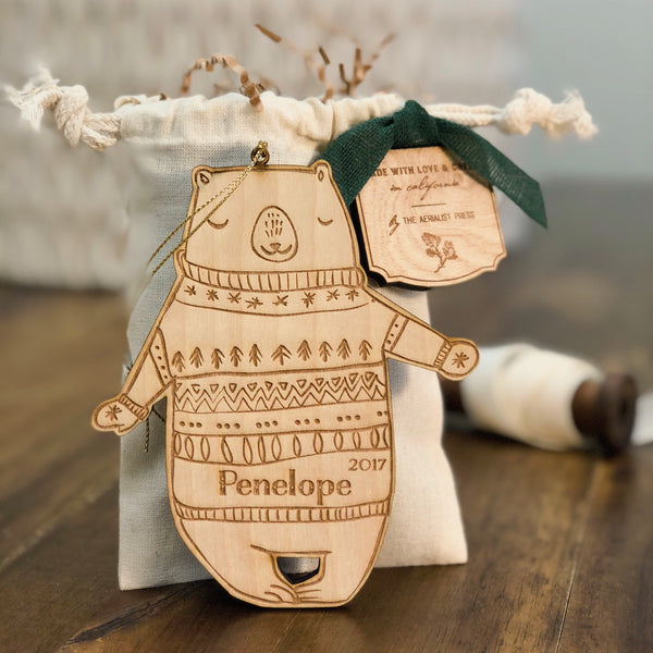 Bentley the Bear (CUSTOMIZABLE) - Child's Name Ornament