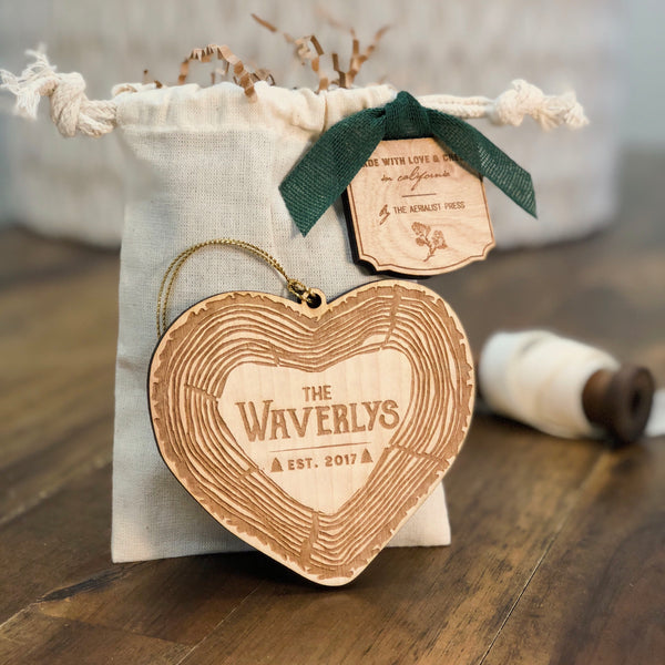 Just Married Rustic First Christmas Ornament (CUSTOMIZABLE)