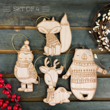 Woodland Friends Ornament Collection (Bear, Fox, Fawn, Owl set of 4)
