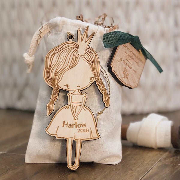 Princess Girl Christmas Ornament (CUSTOMIZABLE)