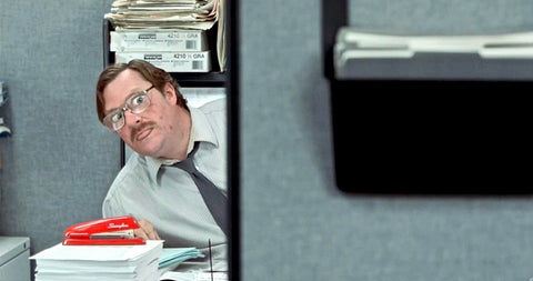 Office Space's Milton with Swingline Stapler
