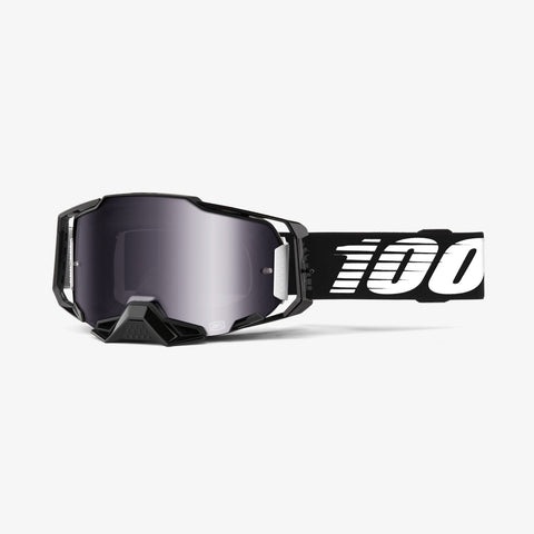 GOGGLE 100% ARMEGA BLACK SILVER MIRROR FLASH