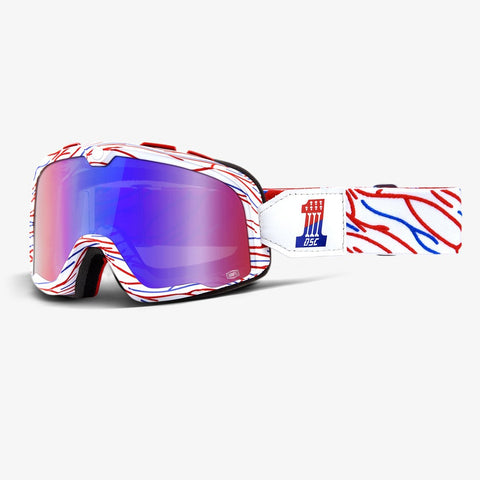 GOGGLE 100% BARSTOW DEATH SPRAY CUSTOM RED/BLUE MIRROR LENS