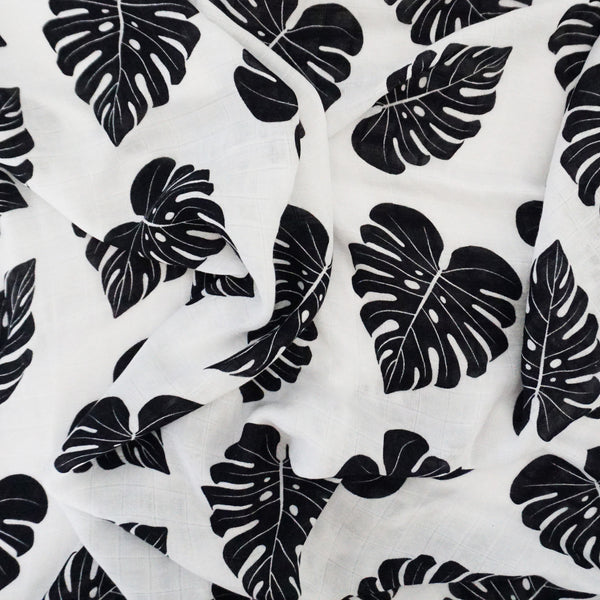 Swaddle With Aloha Love Monstera Swaddle Blanket - Sweet Sweet Honey