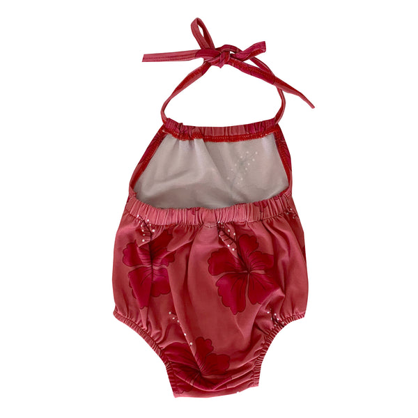 Strawberry Hibiscus Halter Romper (6/12M to 18/24M)