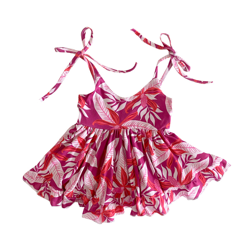 12/18: Honi Orchid New tie Dress Magenta (12/18M to 8T)