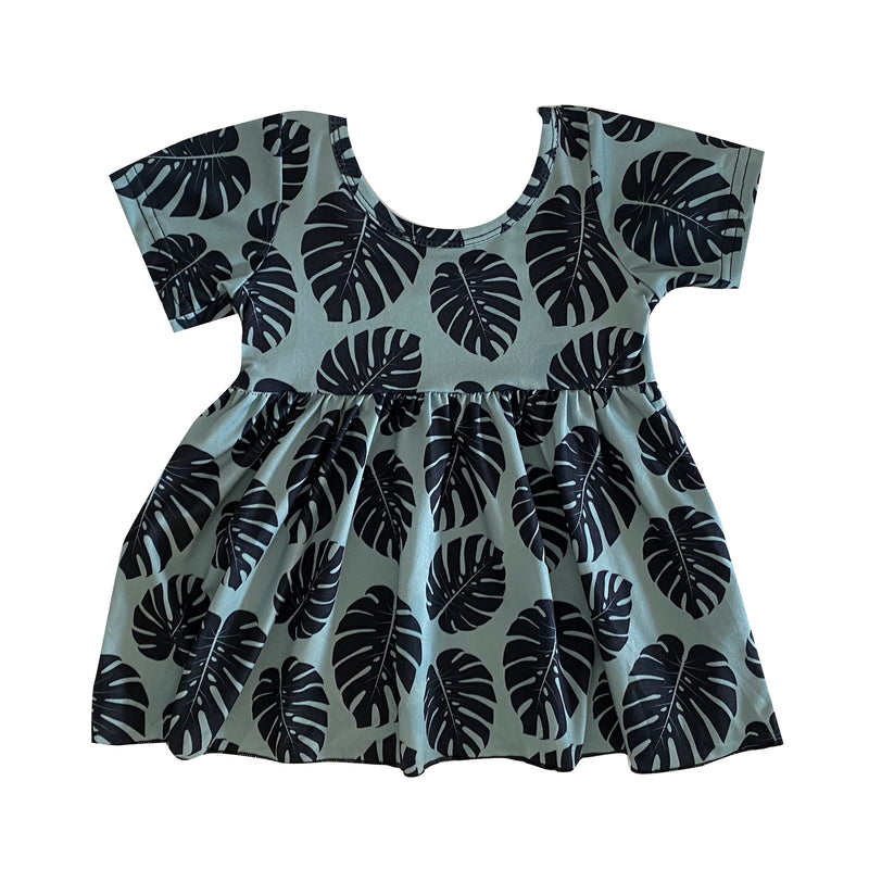 Green Monstera Tee Dress (6/12M to 6T)